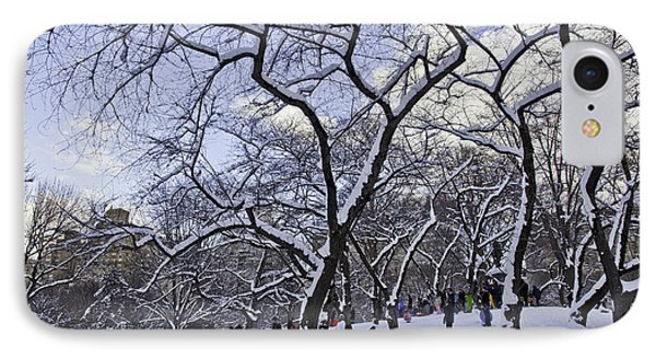Snowboarders In Central Park Phone Case by Madeline Ellis