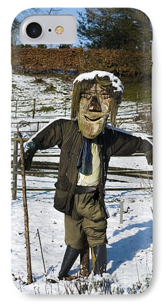 Snowcapped Scarecrow Phone Case by Anne Gilbert