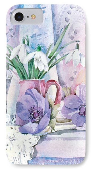 Snowdrops And Anemones Phone Case by Julia Rowntree