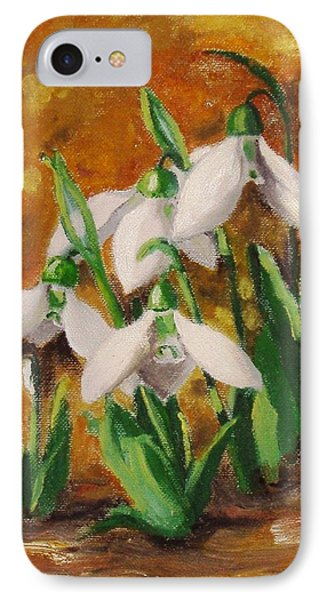 IPhone Case featuring the painting Snowdrops by Nina Mitkova