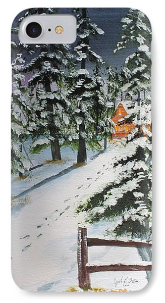 IPhone Case featuring the painting Snowed In Tonight by Jack G  Brauer