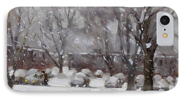 Snowfall In Royal Park Apartments IPhone Case by Ylli Haruni
