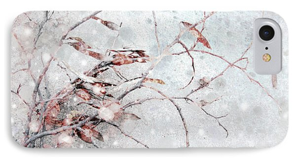 Snowfall On Branch Phone Case by Ann Powell