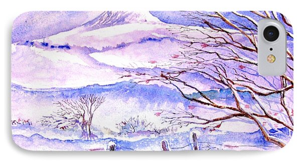 Snowfall On Eagle Hill Hacketstown Ireland  IPhone Case by Trudi Doyle