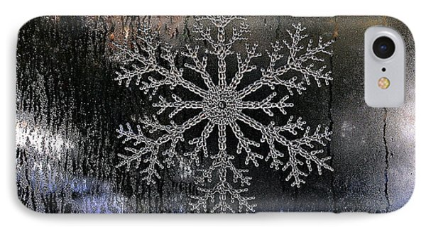 Snowflake On A Night Window Phone Case by Elaine Manley