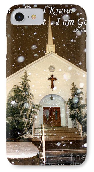 Snowing At The Chapel Phone Case by Kathy  White