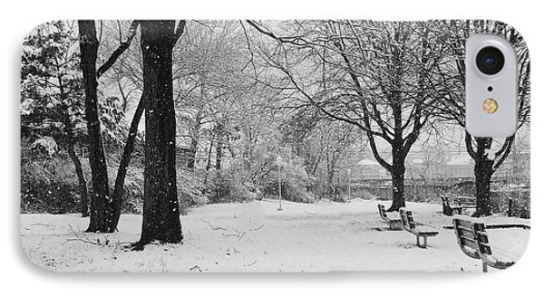 Snowing Out In Black And White IPhone Case by Mikki Cucuzzo