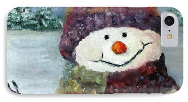 IPhone Case featuring the painting Snowman I - Christmas Series I by Cheri Wollenberg