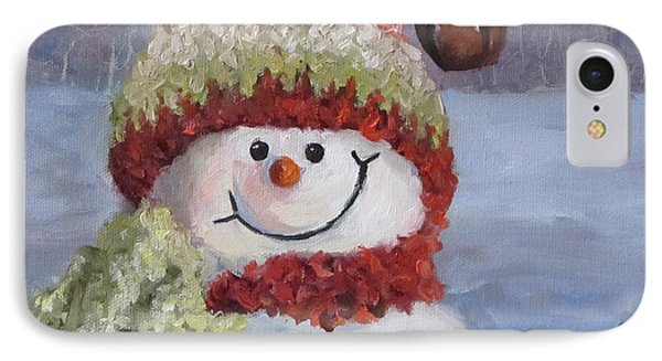 IPhone Case featuring the painting Snowman II - Christmas Series by Cheri Wollenberg