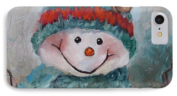 IPhone Case featuring the painting Snowman IIi - Christmas Series by Cheri Wollenberg