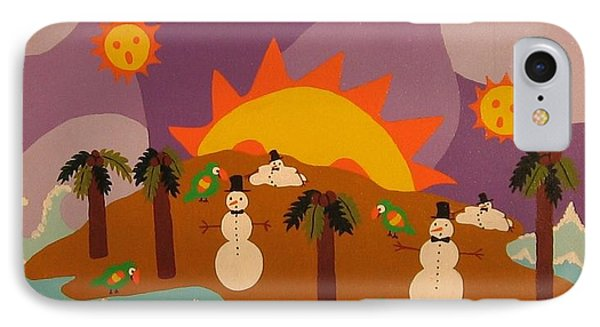 IPhone Case featuring the painting Snowman Is An Island by Erika Chamberlin
