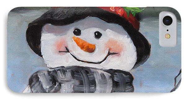 IPhone Case featuring the painting Snowman Iv - Christmas Series by Cheri Wollenberg