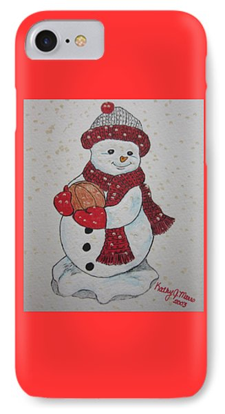 Snowman Playing Basketball Phone Case by Kathy Marrs Chandler