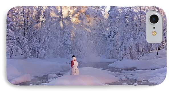 Snowman Standing On A Small Island IPhone Case by Kevin Smith