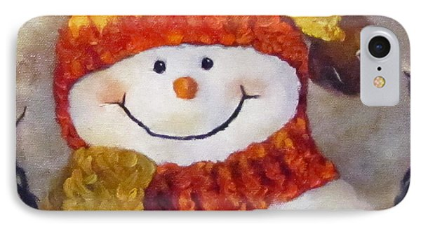 IPhone Case featuring the painting Snowman V - Christmas Series by Cheri Wollenberg