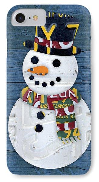 Snowman Winter Fun License Plate Art IPhone Case by Design Turnpike