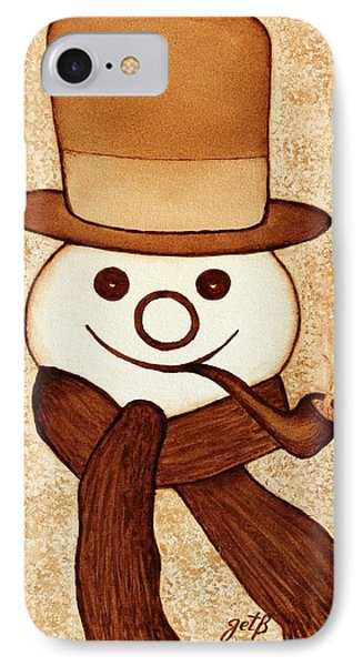 Snowman With Pipe And Topper Original Coffee Painting Phone Case by Georgeta  Blanaru