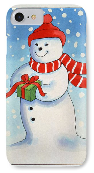 Snowmans Christmas Present IPhone Case by Lavinia Hamer