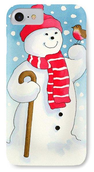 Snowmans Friend Phone Case by Lavinia Hamer