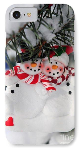 Snowmen Christmas Ornament IPhone Case by Elena Elisseeva