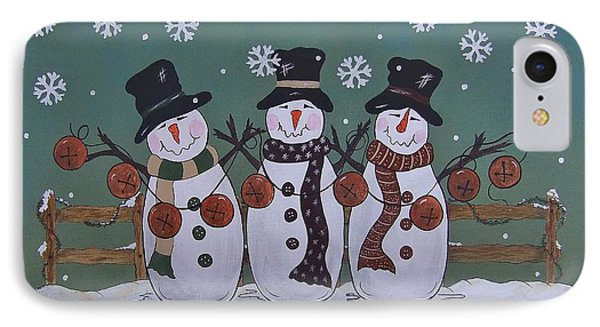 IPhone Case featuring the painting Snowmen Jingle by Cindy Micklos