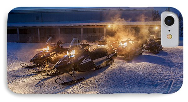 Snowmobiles In The Freezing Cold IPhone Case