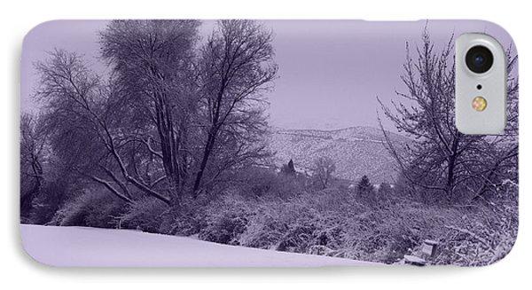 Snowy Bench In Purple Phone Case by Carol Groenen