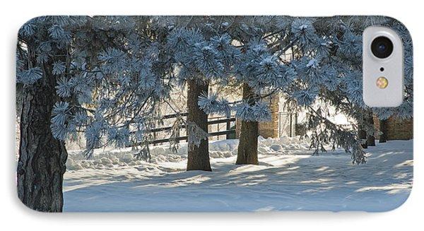 Snowy Blue Pines IPhone Case by Jessie Parker
