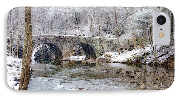 Snowy Bridge Along The Wissahickon Phone Case by Bill Cannon