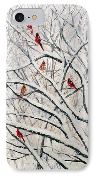 IPhone Case featuring the painting Snowy Cardinal Tree by Janet Greer Sammons