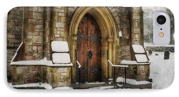 Snowy Church Door IPhone Case by Ian Mitchell