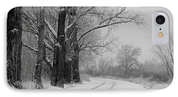Snowy Country Road - Black And White Phone Case by Carol Groenen