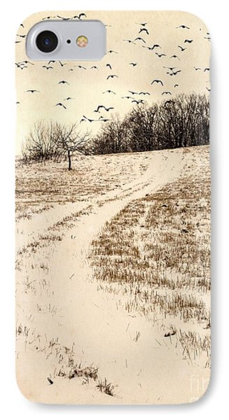 Snowy Country Road IPhone Case by Edward Fielding