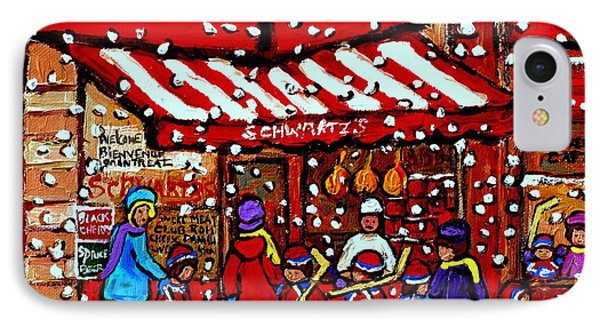 Snowy Day Montreal Paintings Schwarts Deli Smoked Meat After The Hockey Game Carole Spandau Art IPhone Case
