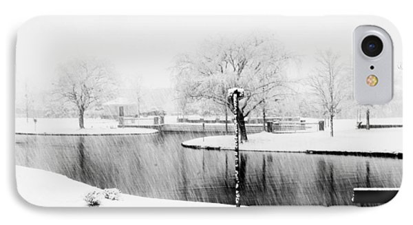 Snowy Day On Man Made Pond IPhone Case by Andy Lawless