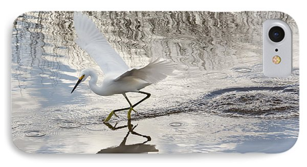 Snowy Egret Gliding Across The Water Phone Case by John M Bailey