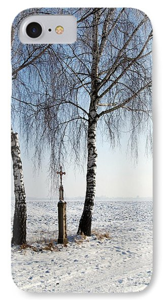 Snowy Landscape With Birches And Wayside Cross IPhone Case