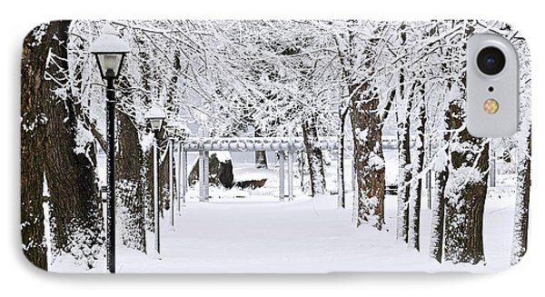 Snowy Lane In Winter Park IPhone Case