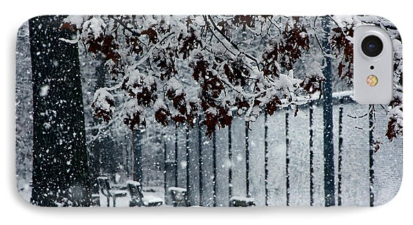 IPhone Case featuring the photograph Snowy Leaves by Andy Lawless