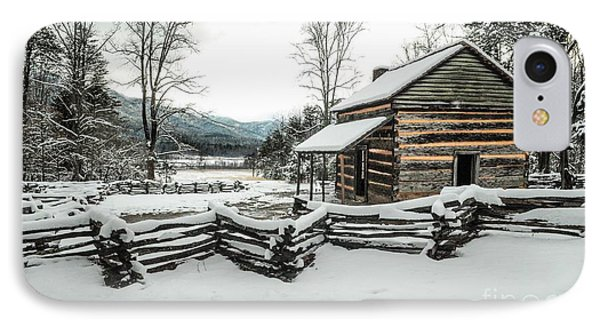 IPhone Case featuring the photograph Snowy Log Cabin by Debbie Green