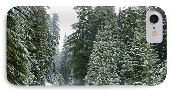 Snowy Mount Hood Forest Phone Case by Charmian Vistaunet