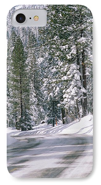 Snowy Mountain Road With Tall Trees IPhone Case