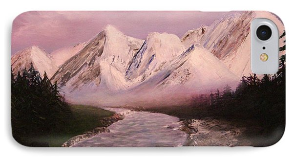IPhone Case featuring the painting Snowy Mountains And River by Janet Greer Sammons