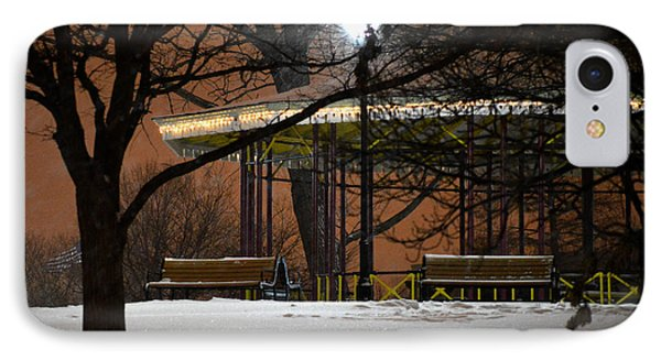 IPhone Case featuring the photograph Snowy Night In Leone Riverside Park by Bill Swartwout