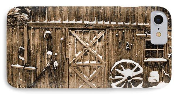 Snowy Old Barn IPhone Case