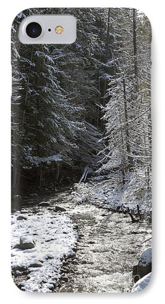 Snowy Oregon Stream Phone Case by Peter French
