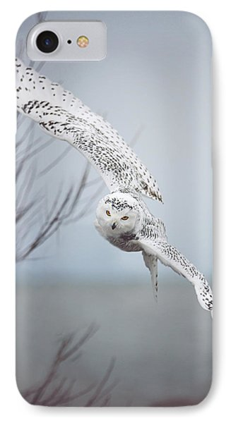 Snowy Owl In Flight IPhone Case by Carrie Ann Grippo-Pike
