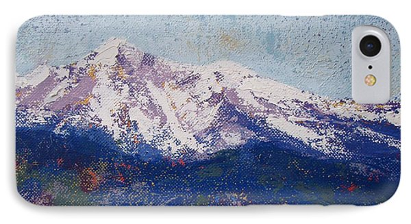 IPhone Case featuring the painting Snowy Peaks by Margaret Bobb