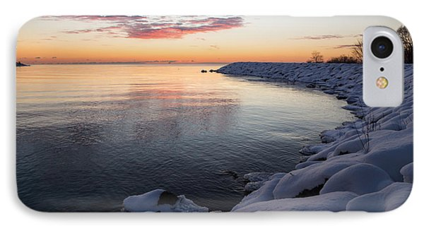 Snowy Pink Dawn On The Lake IPhone Case