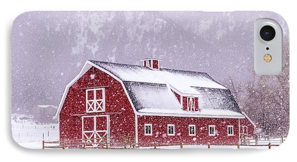 Snowy Red Barn IPhone Case by Teri Virbickis